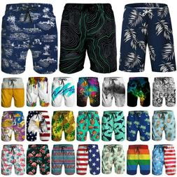 Mens Print Quick Dry Swim Trunks Summer Surfing Beach Shorts
