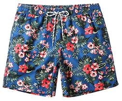 MaaMgic Mens Quick Dry Floral Swim Trunks With Mesh Lining S