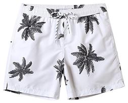 MaaMgic Mens Quick Dry Palm Tree Swim Trunks With Mesh Linin