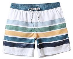 MaaMgic Mens Quick Dry Striped Swim Trunks With Mesh Lining