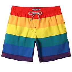 MaaMgic Mens Rainbow Swim Trunks Bathing Suits Board Shorts