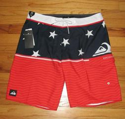 """Quiksilver Mens Red White Blue Flag 20"""" Boardshorts Shorts 3"""