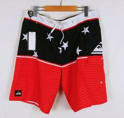 Quiksilver Mens Size 34 Red White Blue Patriotic Star Spangl