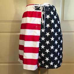 Faded Glory Mens Size 3XL Swim Trunk Board Shorts American F