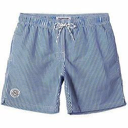 MaaMgic Mens Stripe Swim Trunks Slim, Blue Striped, Size XX-