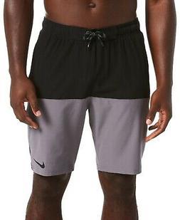 Nike Mens Swimwear Gray Black Size XL Volley Colorblock Boar