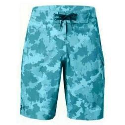 Under Armour Mens Teal Blue Camo Reblek Boardshorts Swim Tru