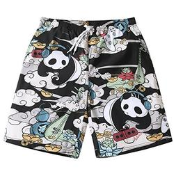 Mens Ultra Quick Dry Panda Musician Fashion Board Shorts 3X-