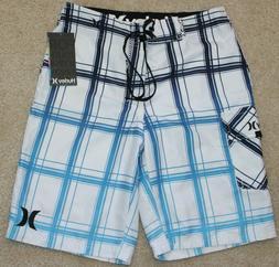 New! Boys Hurley Puerto Rico Plaid Boardshorts  - Size 10