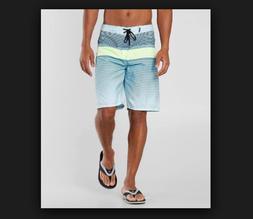 New HURLEY Line Up blue green stripe stripe board shorts swi