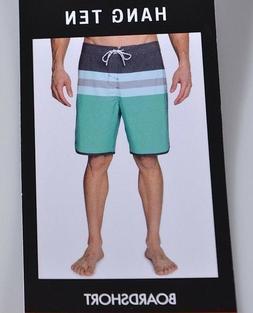 NEW Hang Ten Men's Boardshorts 42 Asphalt Grey Teal Swim Tru