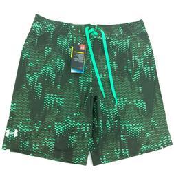 NEW Under Armour Mens 34 HeatGear Green Board Shorts Bathing
