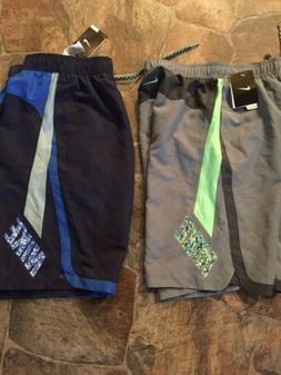 New!! Nike Mens Double Logo Swim Trunks W/Net Brief Insert!!