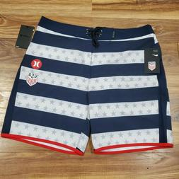 NEW! Hurley/Nike  Phantom 18″ Board Shorts Team USA Stripe