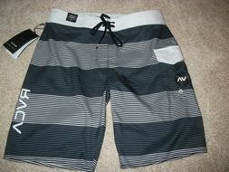 RVCA New NWT Mens Board Shorts Swim Black Gray White Stripe