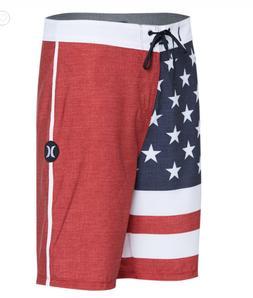New HURLEY Phantom Patriot red white blue board shorts swim