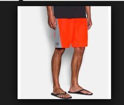 New Under Armour RIGID orange gray board shorts swim trunk p