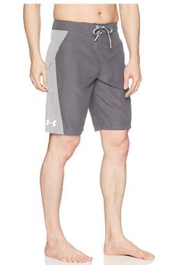 New Under Armour RIGID solid 2 tone gray board shorts swim t