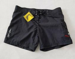"New Women's Black Stretch Maui Rippers Boardshorts 5"" Inseam"