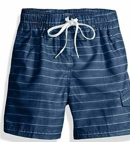 NWOT KANU SURF BOYS NAVY BLUE STRIPED SWIM TRUNKS BOARD SHOR