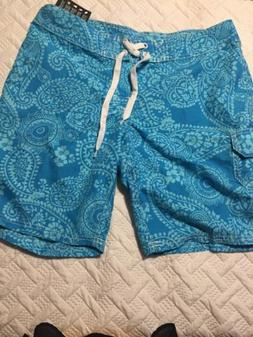 NWOT Kanu Surf Size 10 Women's Board Shorts TEAL PAISLEY