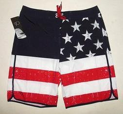 NWT Op AMERICAN FLAG FOURTH OF JULY SWIM TRUNK BOARD SHORTS