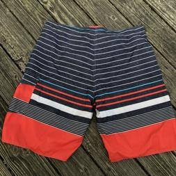 NWT Nonwe BoardShorts Size 40 Stripes Orange Black White Lin