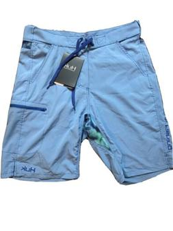 NWT Huk Fishing Swim Performance Boardshorts Light Blue Mens