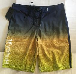 """NWT Hurley Men's Flight Core 2  Navy Yellow 22"""" Swim Surf Bo"""