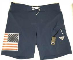 NWT Men's Columbia PFG Fish Series Board Short American Flag