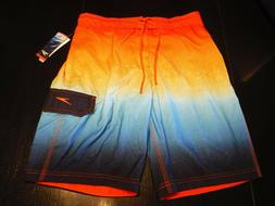 NWT Men's Speedo Swim Trunks Stretch Board Shorts Orange Yel