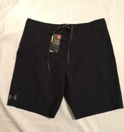 NWT Mens Under Armour UA Rigid Board Shorts Black Size 38