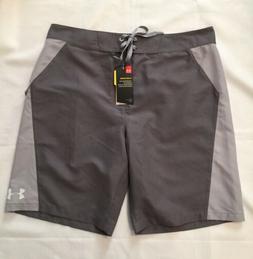 NWT Mens Under Armour UA Rigid Board Shorts Gray Size 36