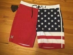 NWT HURLEY Phantom America USA Patriotic Red White Blue Mens
