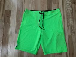 NWT HURLEY Phantom One and Only Mens Neon Green Board Surf S