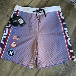 NWT HURLEY Phantom USA Olympic Team Boardshorts Size Red Whi