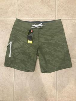 NWT UNDER ARMOUR STORM BOARD SHORTS SZ 36 UPF 30 GREEN PRINT