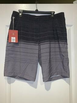 NWT Mossimo  Hybrid Men's Board Shorts Gray Stripe Swim Tr