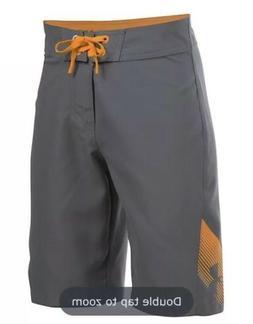 NWT! UNDER ARMOUR UA Mania Tidal Boardshorts Gray Orange Boy