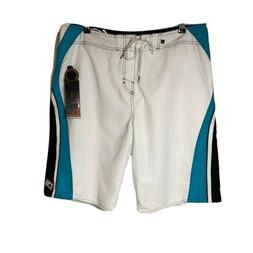 O'NEILL Board Shorts Swim Trunks Mesh Lined White Teal Blue
