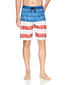 O'Neill Men's Quick Dry Party Boardshort, KEG Leg RED White