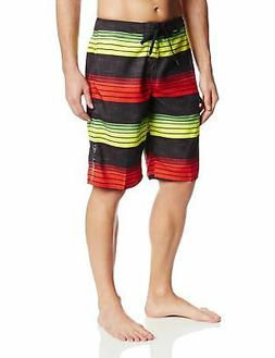 O'Neill Men's Santa Cruz Stripe Boardshorts,Rasta, - Choose
