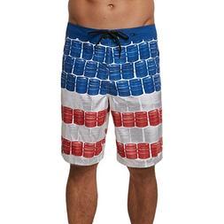 O'Neill Men's Ultrasuede Party Boardshort, KEG Leg RED White