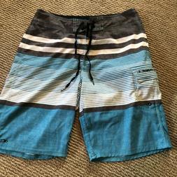 O'NEILL Mens' Board Swim Shorts Blue White Gray Stripes Size