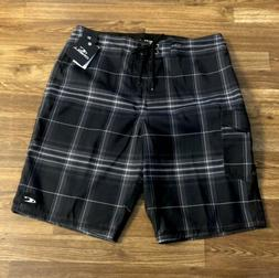 O'Neill Mens Santa Cruz Plaid Board/Swim Trunks/ Shorts SZ: