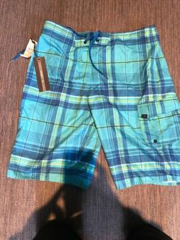O'neill Santa Cruz Plaid Board Shorts - NWT Mens 32 Blue -fr