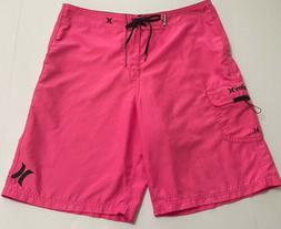 HURLEY One and Only Board Shorts Hyper Neon Hot Pink Size 34