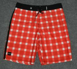 """HURLEY ONE & ONLY CHECKERED 22 BOARDSHORTS 10"""" Ins Red White"""