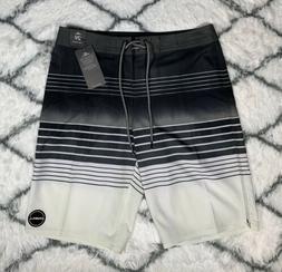 O'NEILL Heist Black White Striped Boardshorts Swim Trunks