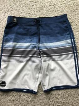 O'NEILL Mens Size 34 Mid Length Blue Boardshorts, Fishing,